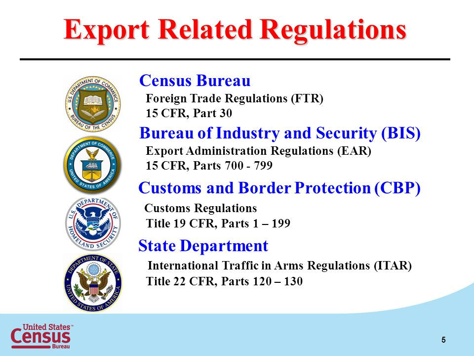 Export Related Regulations Census Bureau Foreign Trade Regulations (FTR) 15 CFR, Part 30 Bureau of Industry and Security (BIS) Export Administration Regulations (EAR) 15 CFR, Parts Customs and Border Protection (CBP) Customs Regulations Title 19 CFR, Parts 1 – 199 State Department International Traffic in Arms Regulations (ITAR) Title 22 CFR, Parts 120 – 130 5