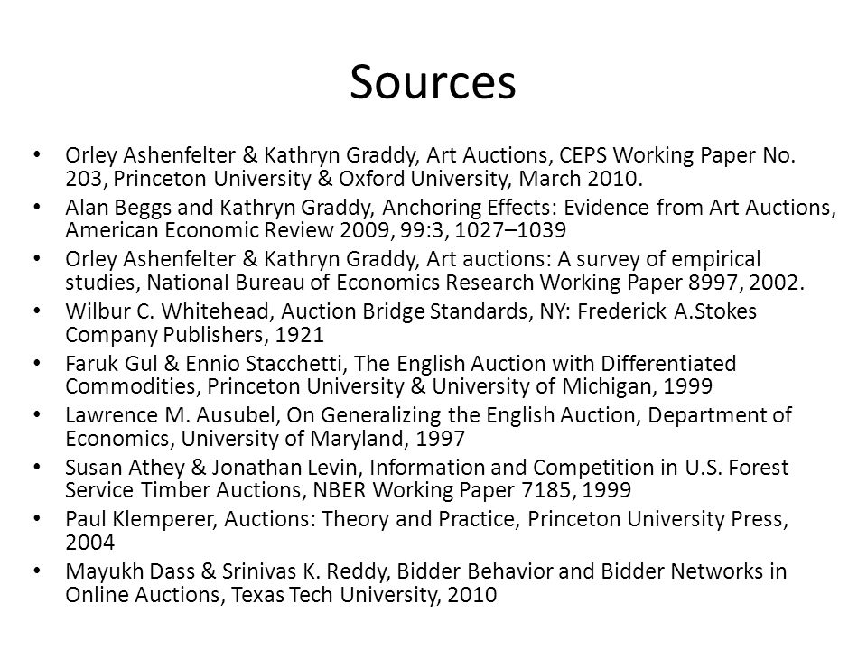 Sources Orley Ashenfelter & Kathryn Graddy, Art Auctions, CEPS Working Paper No.