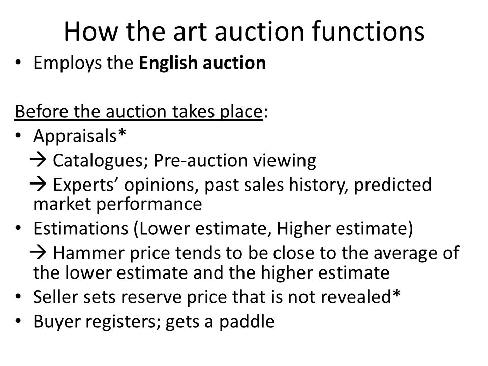 Limitations of English auctions in art auctions 2.