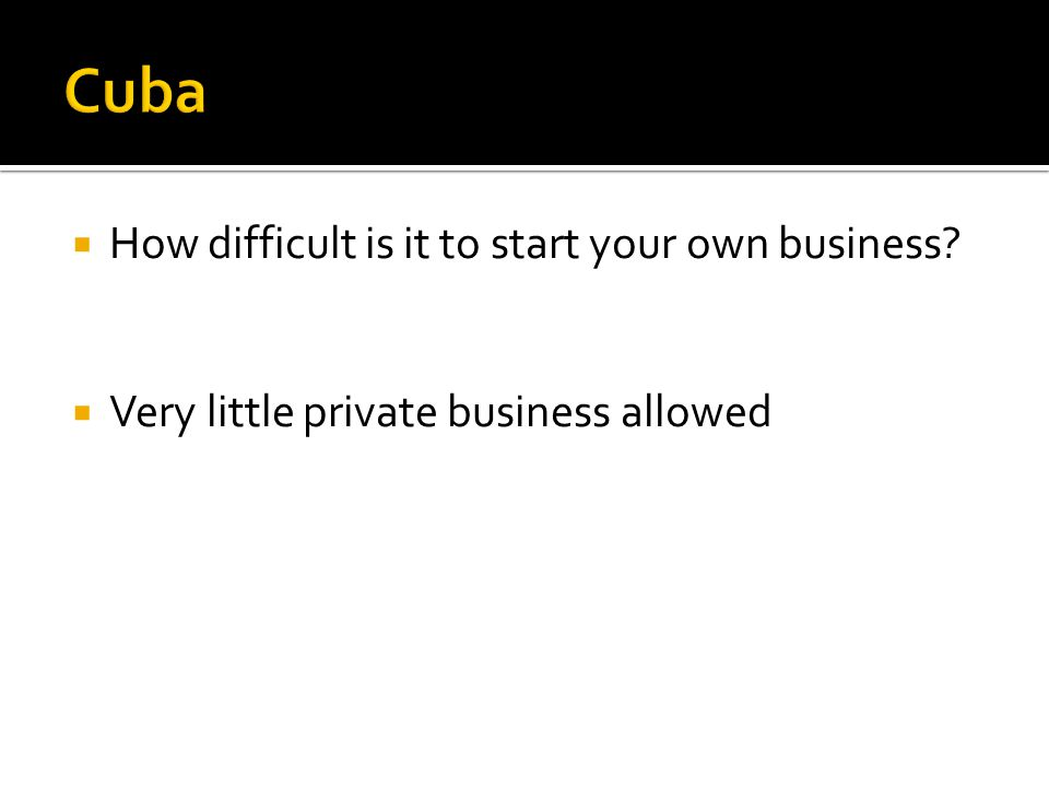 How difficult is it to start your own business? Very little private business allowed