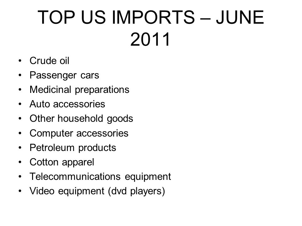 TOP US IMPORTS – JUNE 2011 Crude oil Passenger cars Medicinal preparations Auto accessories Other household goods Computer accessories Petroleum products Cotton apparel Telecommunications equipment Video equipment (dvd players)
