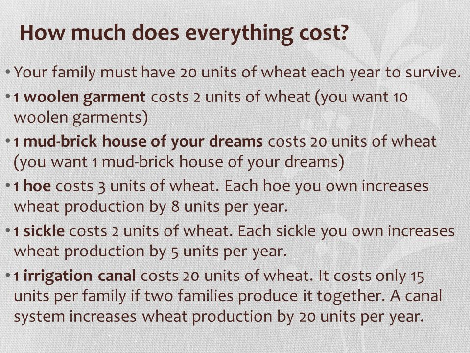 How much does everything cost. Your family must have 20 units of wheat each year to survive.