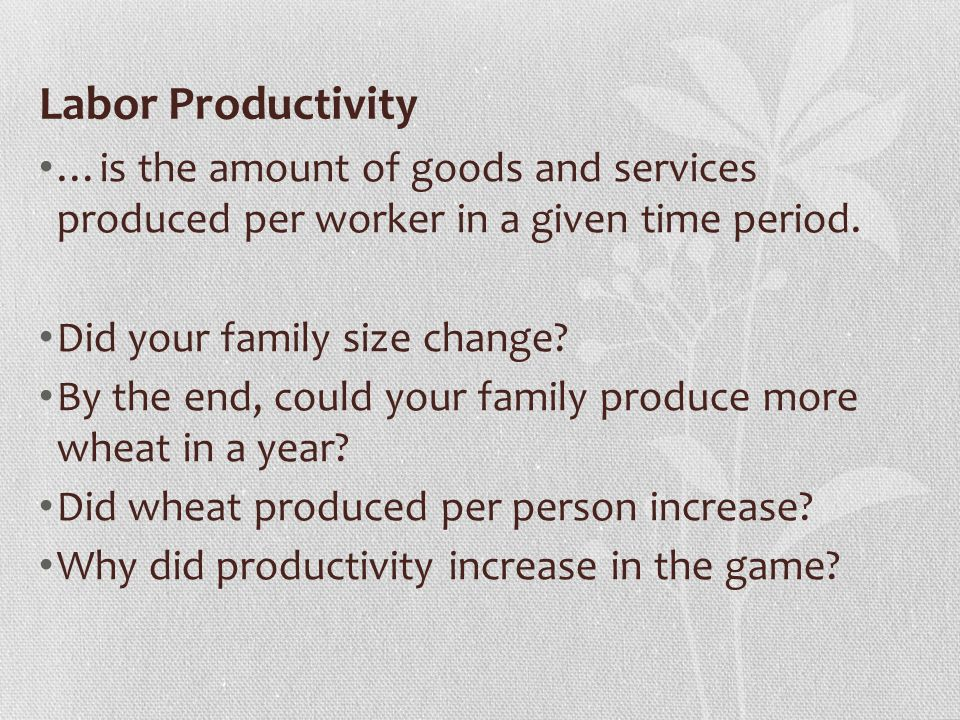 Labor Productivity …is the amount of goods and services produced per worker in a given time period.