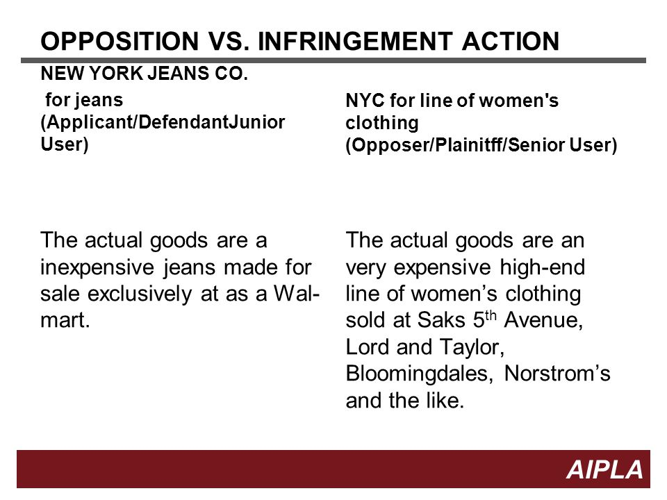 14 AIPLA Firm Logo OPPOSITION VS. INFRINGEMENT ACTION NEW YORK JEANS CO.