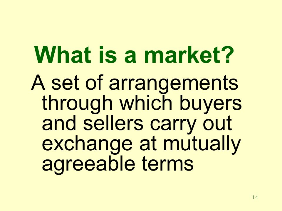 14 What is a market.