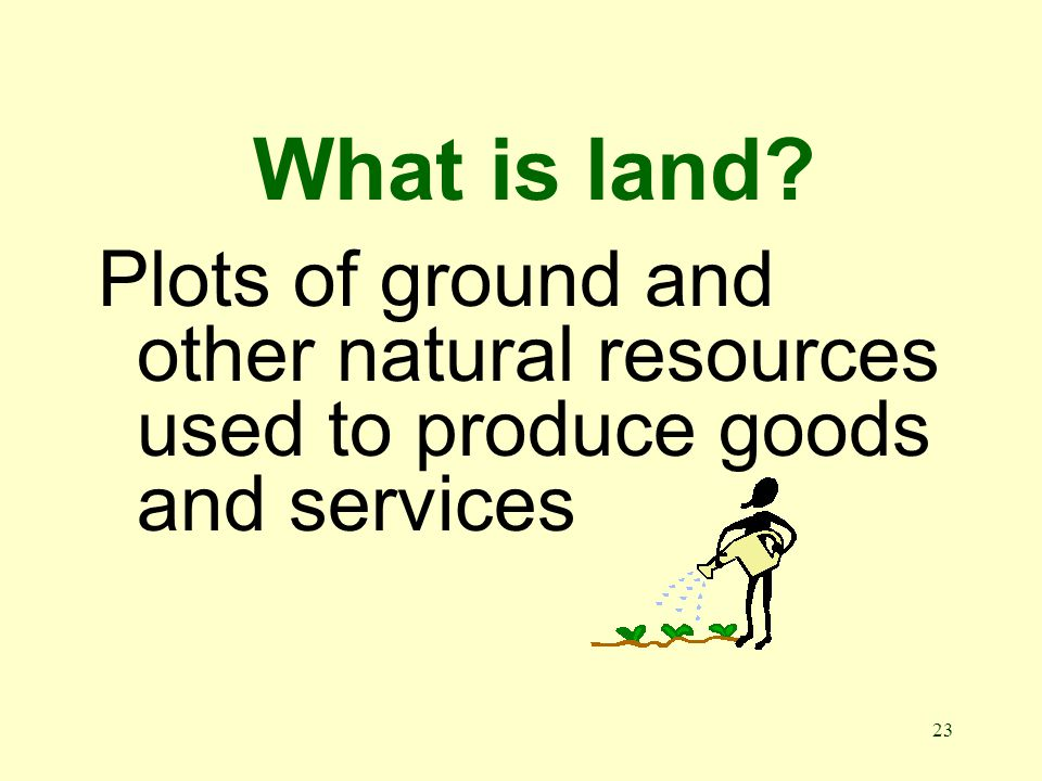 23 What is land Plots of ground and other natural resources used to produce goods and services
