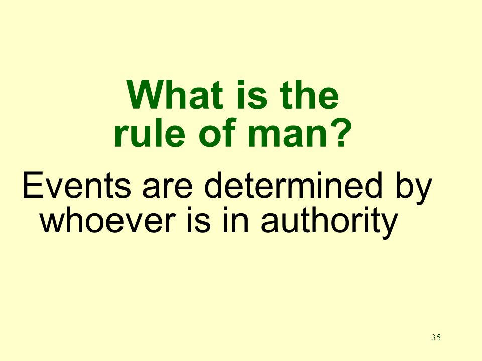 35 What is the rule of man Events are determined by whoever is in authority
