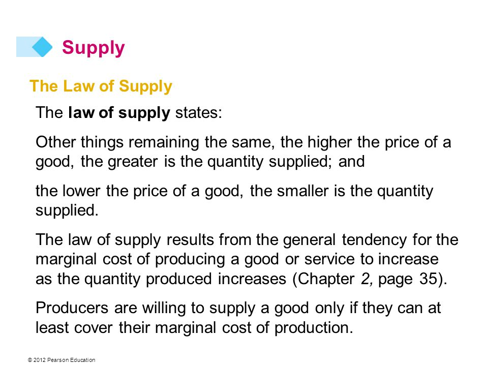 © 2012 Pearson Education The Law of Supply The law of supply states: Other things remaining the same, the higher the price of a good, the greater is the quantity supplied; and the lower the price of a good, the smaller is the quantity supplied.