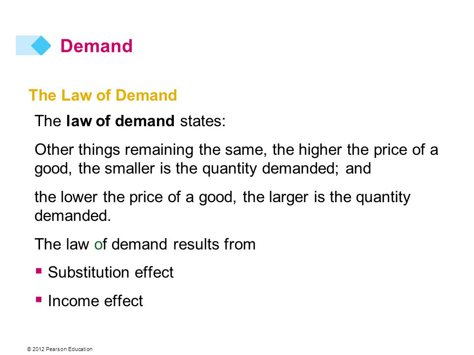 © 2012 Pearson Education The Law of Demand The law of demand states: Other things remaining the same, the higher the price of a good, the smaller is the quantity demanded; and the lower the price of a good, the larger is the quantity demanded.
