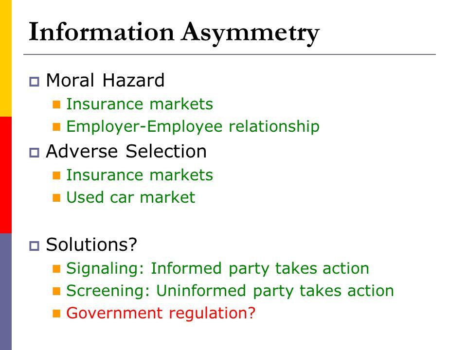 Information Asymmetry Moral Hazard (Hidden actions) Insurance markets Employer-Employee relationship Adverse Selection (Hidden characteristics) Insura