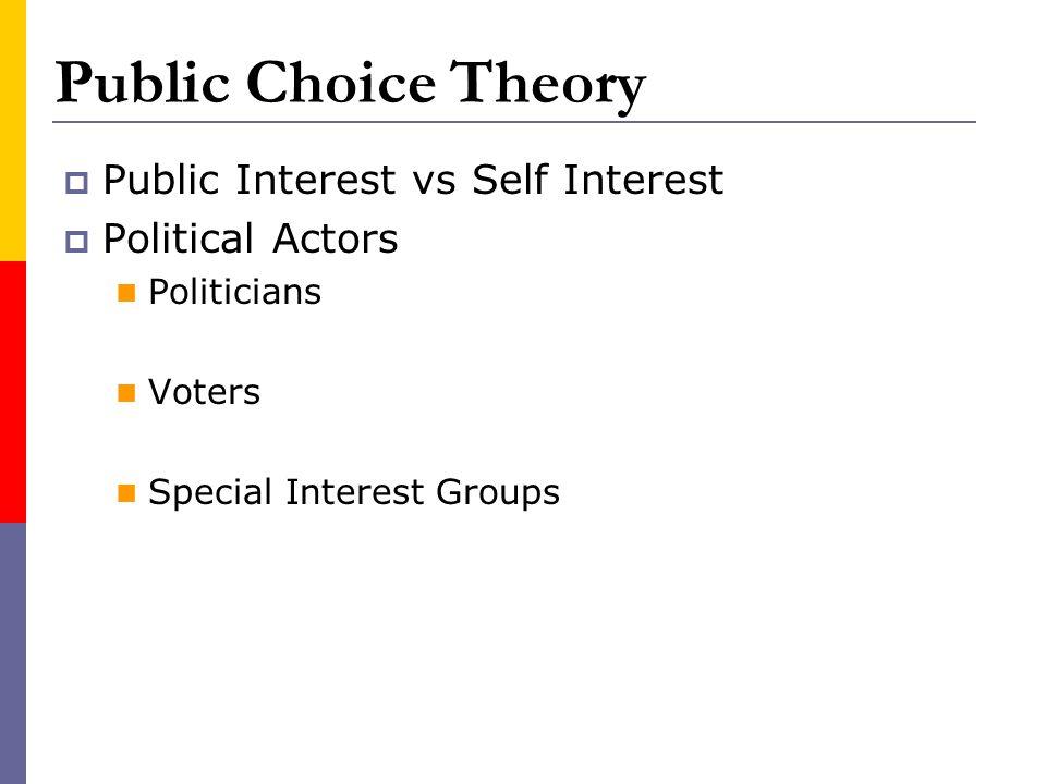 Public Choice Theory Public Interest vs Self Interest Political Actors Politicians Voters Special Interest Groups