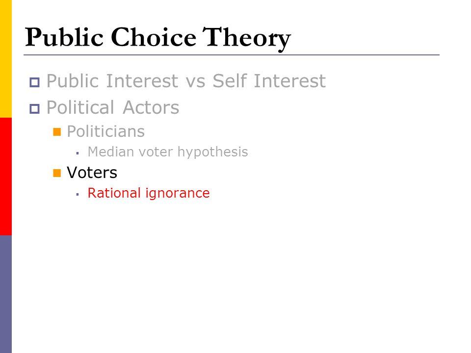 Public Choice Theory Public Interest vs Self Interest Political Actors Politicians Median voter hypothesis Voters Rational ignorance