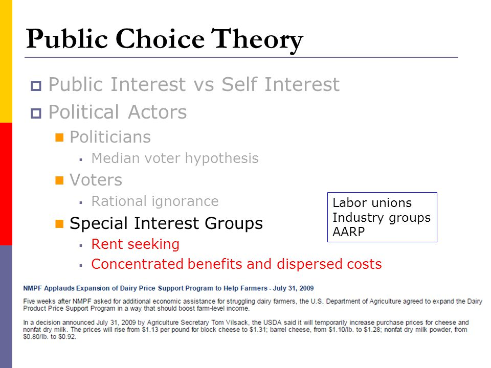 Public Choice Theory Public Interest vs Self Interest Political Actors Politicians Median voter hypothesis Voters Rational ignorance Special Interest