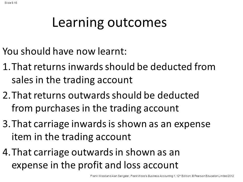 Frank Wood and Alan Sangster, Frank Woods Business Accounting 1, 12 th Edition, © Pearson Education Limited 2012 Slide 9.15 Learning outcomes You shou