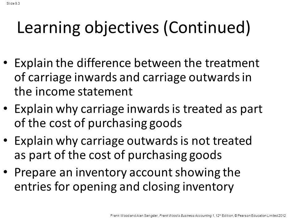 Frank Wood and Alan Sangster, Frank Woods Business Accounting 1, 12 th Edition, © Pearson Education Limited 2012 Slide 9.3 Learning objectives (Contin