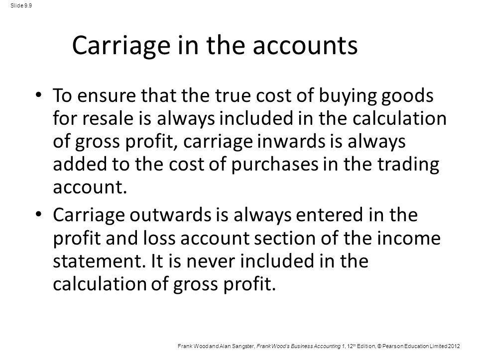 Frank Wood and Alan Sangster, Frank Woods Business Accounting 1, 12 th Edition, © Pearson Education Limited 2012 Slide 9.9 Carriage in the accounts To