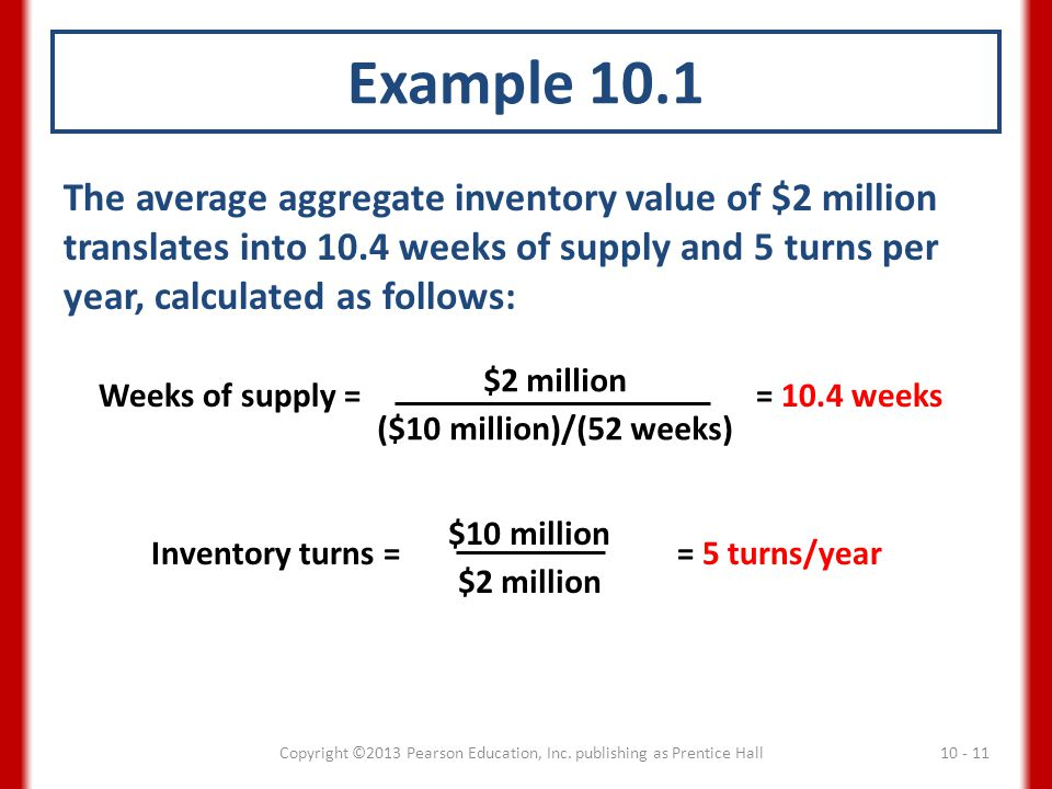 Example 10.1 The average aggregate inventory value of $2 million translates into 10.4 weeks of supply and 5 turns per year, calculated as follows: Wee