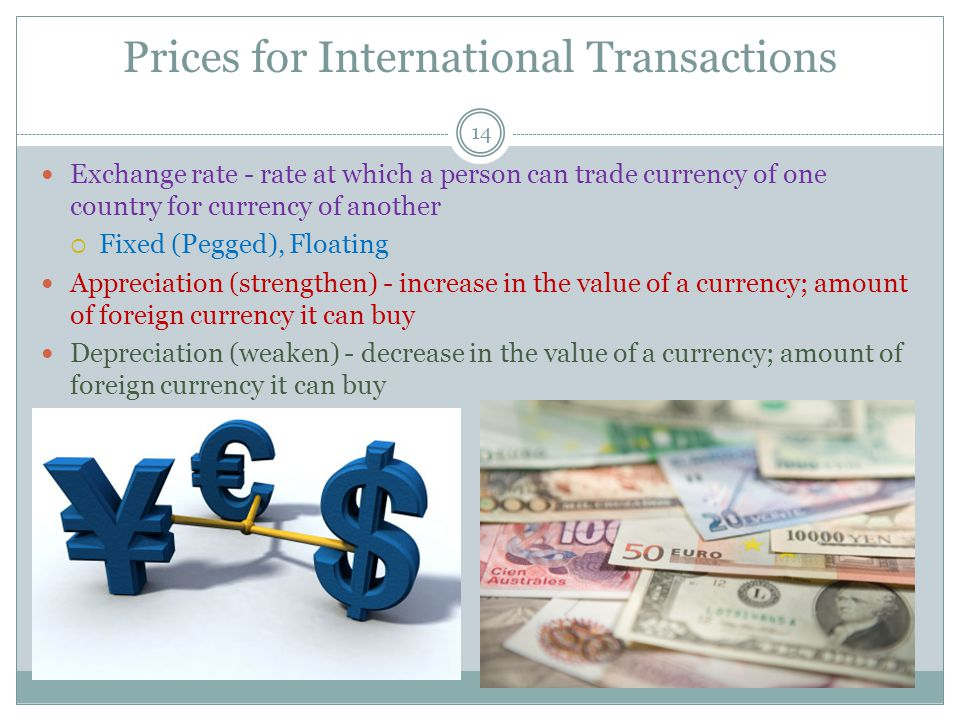 International Flows of Goods & Capital 13 Variables that influence demand for foreign money Interest Rates Travel abroad Trade