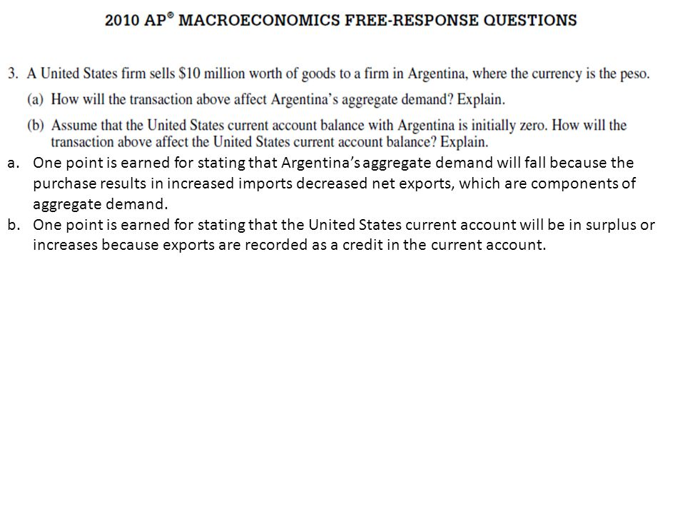2011 MACROECONOMICS FREE RESPONSE QUESTIONS (FORM B) One point is earned for stating that aggregate demand in Singapore will increase and for explaini