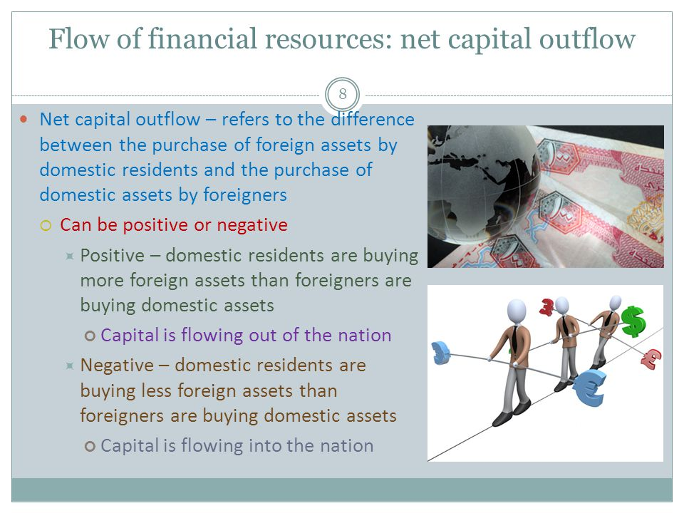 Flow of financial resources: net capital outflow 8 Net capital outflow – refers to the difference between the purchase of foreign assets by domestic residents and the purchase of domestic assets by foreigners Can be positive or negative Positive – domestic residents are buying more foreign assets than foreigners are buying domestic assets Capital is flowing out of the nation Negative – domestic residents are buying less foreign assets than foreigners are buying domestic assets Capital is flowing into the nation