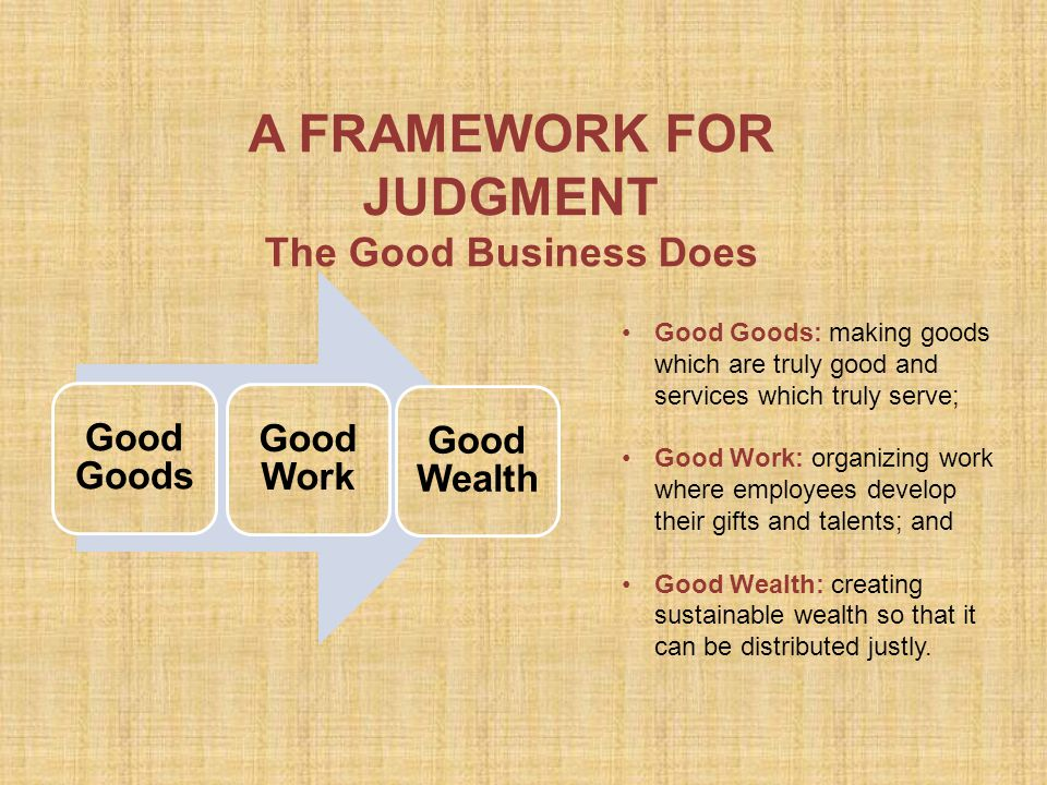 A FRAMEWORK FOR JUDGMENT The Good Business Does Good Goods: making goods which are truly good and services which truly serve; Good Work: organizing work where employees develop their gifts and talents; and Good Wealth: creating sustainable wealth so that it can be distributed justly.