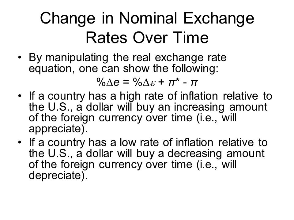 Change in Nominal Exchange Rates Over Time By manipulating the real exchange rate equation, one can show the following: % e = % + π* - π If a country has a high rate of inflation relative to the U.S., a dollar will buy an increasing amount of the foreign currency over time (i.e., will appreciate).