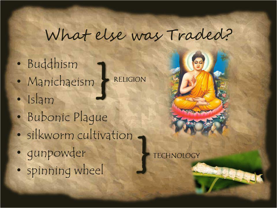 What else was Traded? Buddhism Manichaeism Islam Bubonic Plague silkworm cultivation gunpowder spinning wheel RELIGION TECHNOLOGY