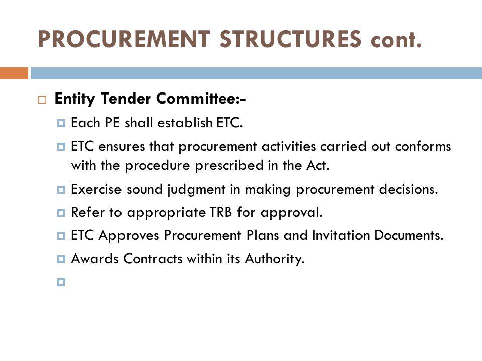 PROCUREMENT STRUCTURES cont.Entity Tender Committee:- Each PE shall establish ETC.