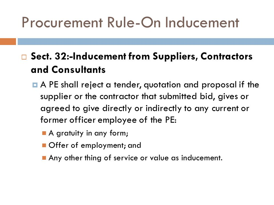 Procurement Rule-On Inducement Sect.
