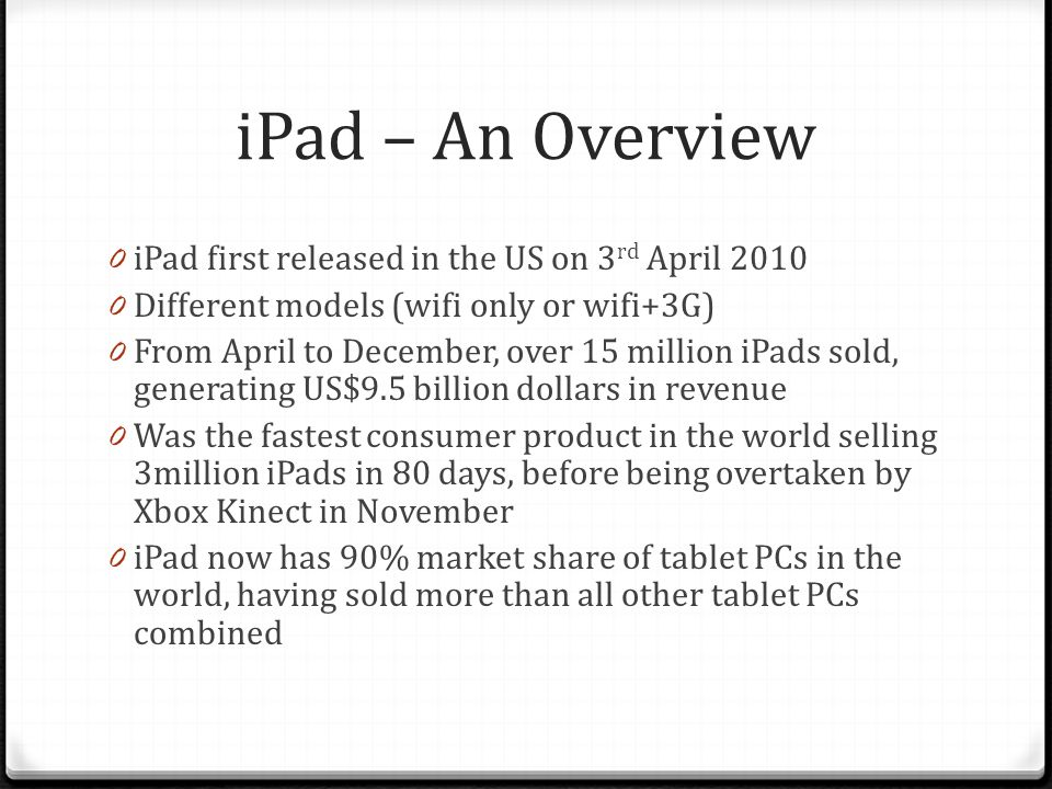 How is the price of iPad determined.:o 0 Combination of several factors.