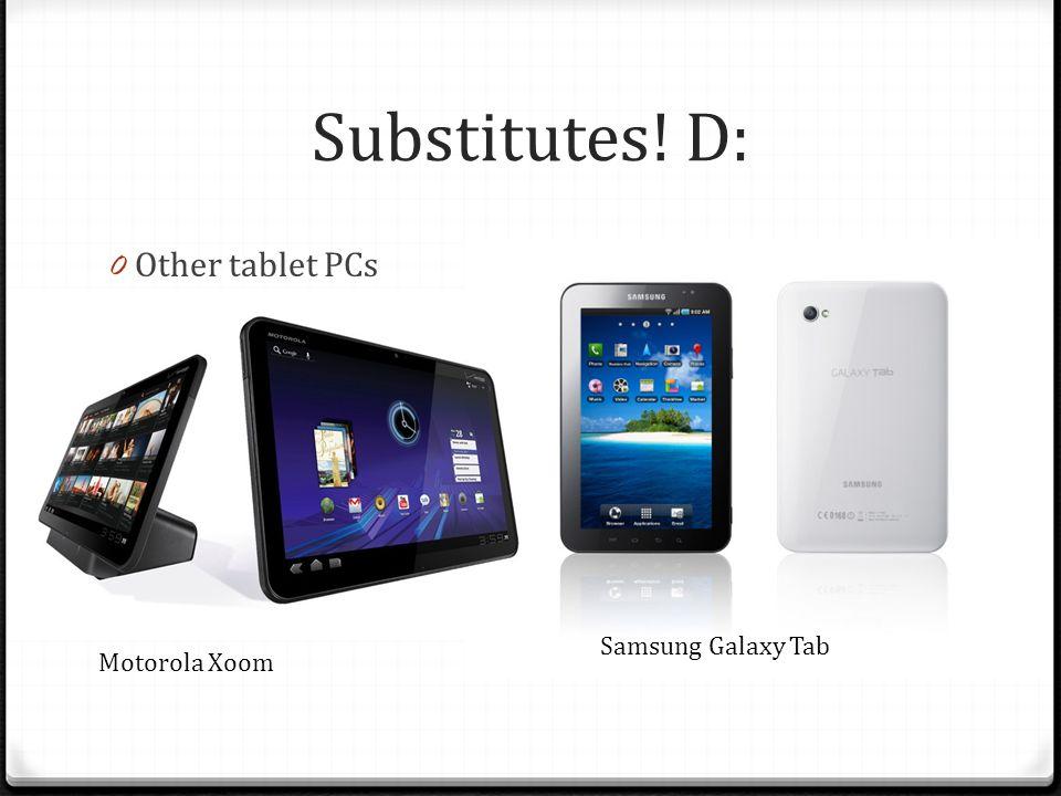 Substitutes! D: 0 Other tablet PCs Motorola Xoom Samsung Galaxy Tab