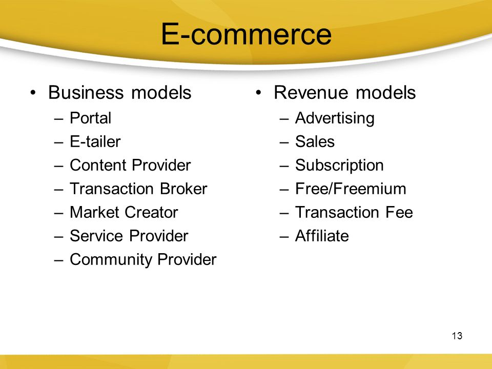 E-commerce Business models –Portal –E-tailer –Content Provider –Transaction Broker –Market Creator –Service Provider –Community Provider Revenue model