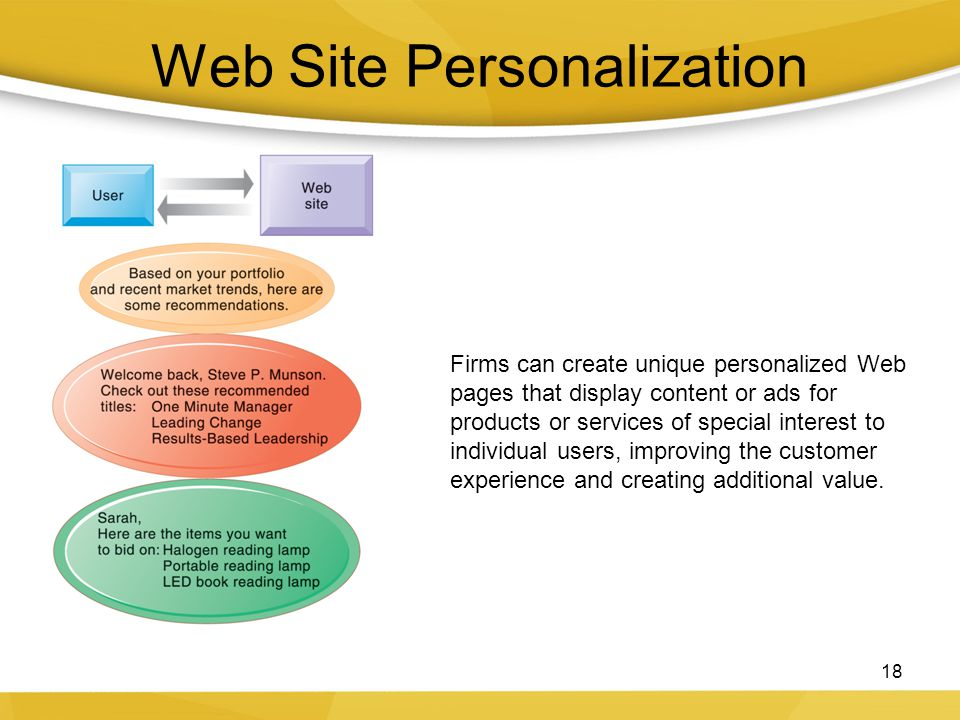 Web Site Personalization 18 Firms can create unique personalized Web pages that display content or ads for products or services of special interest to