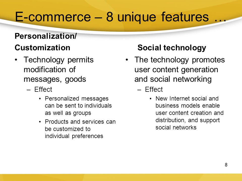 Key concepts in e-commerce –Digital markets reduce Information asymmetry Search costs Transaction costs Menu costs –Digital markets enable Reduced price discrimination Dynamic pricing Disintermediation 9