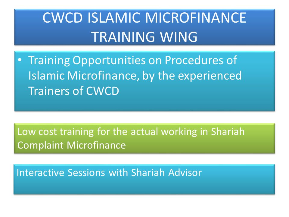 CWCD ISLAMIC MICROFINANCE TRAINING WING Training Opportunities on Procedures of Islamic Microfinance, by the experienced Trainers of CWCD Low cost tra