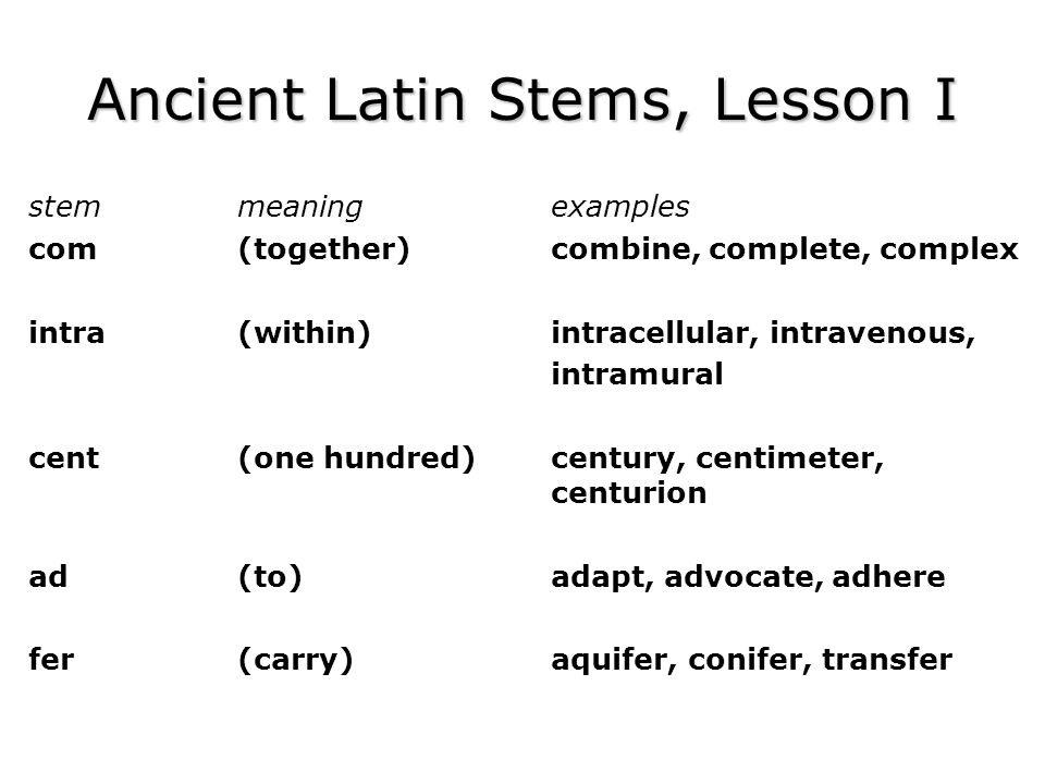Ancient Latin Stems, Lesson I stemmeaningexamples com(together)combine, complete, complex intra(within)intracellular, intravenous, intramural cent(one hundred)century, centimeter, centurion ad(to)adapt, advocate, adhere fer(carry)aquifer, conifer, transfer