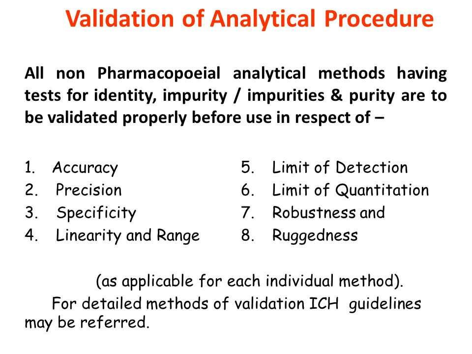 Validation of Analytical Procedure All non Pharmacopoeial analytical methods having tests for identity, impurity / impurities & purity are to be valid