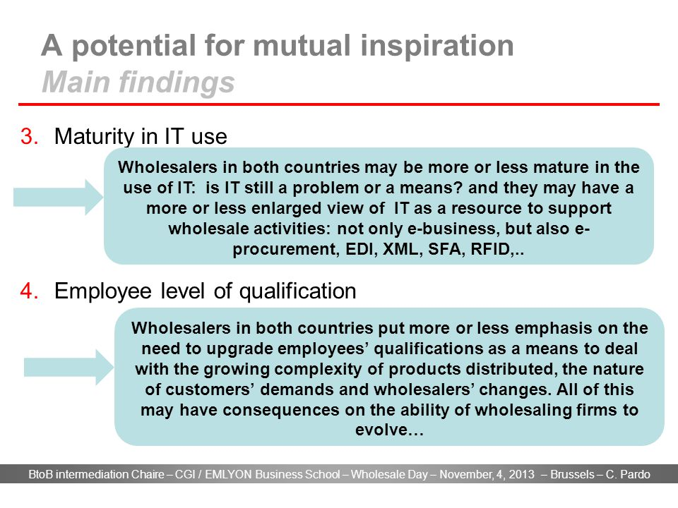 BtoB intermediation Chaire – CGI / EMLYON Business School – Wholesale Day – November, 4, 2013 – Brussels – C. Pardo A potential for mutual inspiration