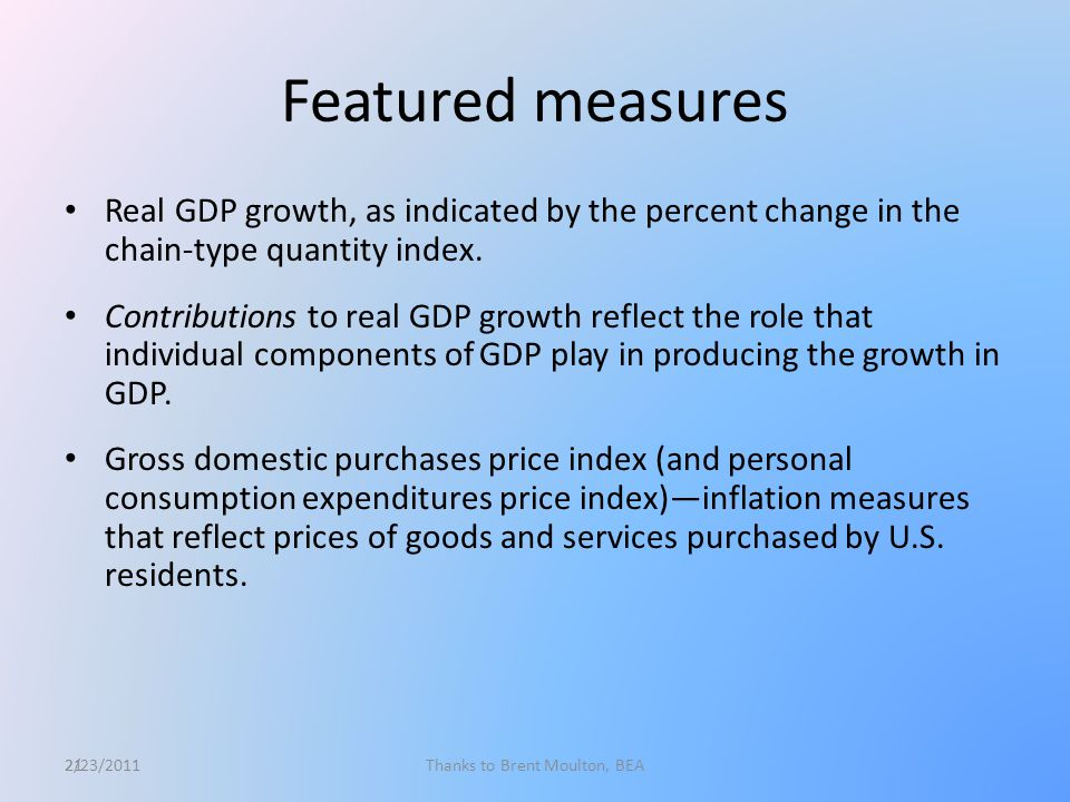 21 Featured measures Real GDP growth, as indicated by the percent change in the chain-type quantity index.