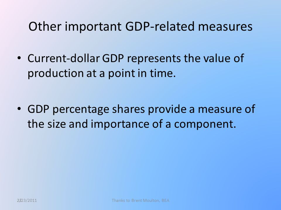 22 Other important GDP-related measures Current-dollar GDP represents the value of production at a point in time.