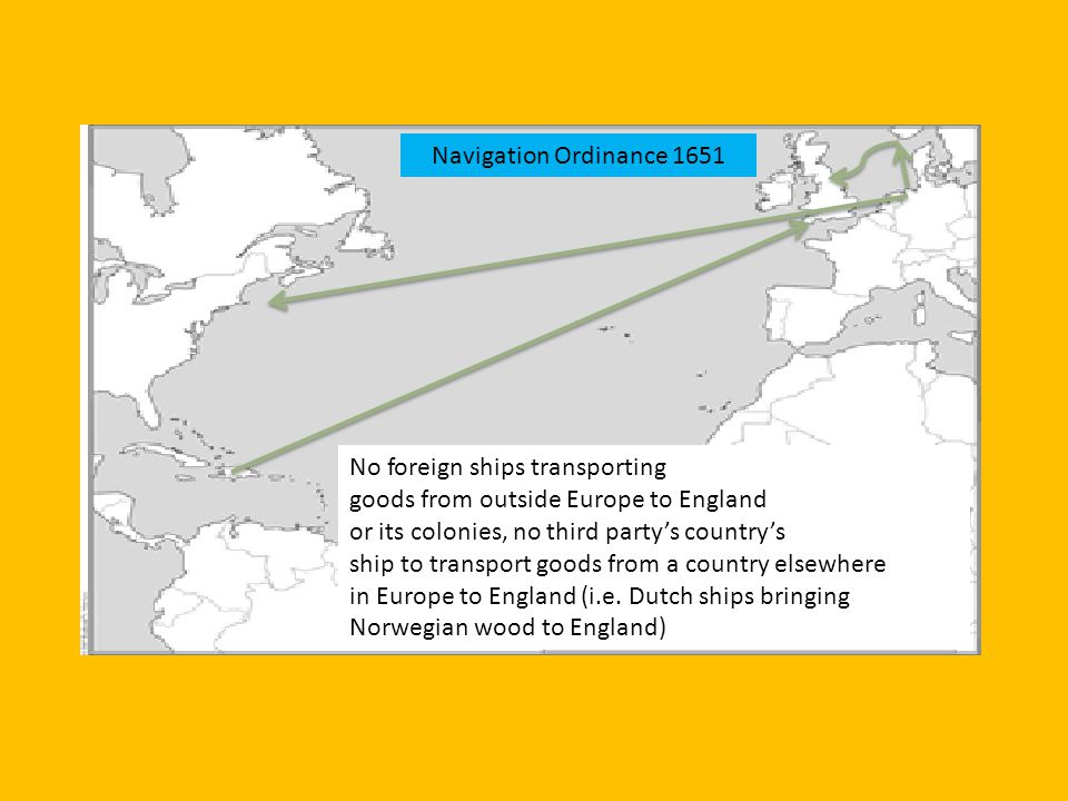 No foreign ships transporting goods from outside Europe to England or its colonies, no third partys countrys ship to transport goods from a country el