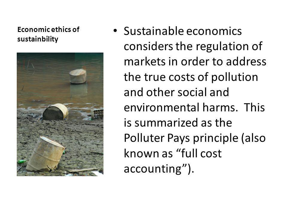 Economic ethics of sustainbility Sustainable economics considers the regulation of markets in order to address the true costs of pollution and other social and environmental harms.