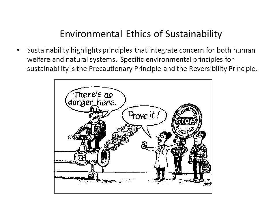 Environmental Ethics of Sustainability Sustainability highlights principles that integrate concern for both human welfare and natural systems.