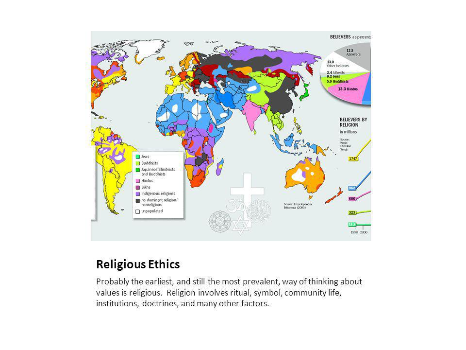 Religious Ethics Probably the earliest, and still the most prevalent, way of thinking about values is religious.