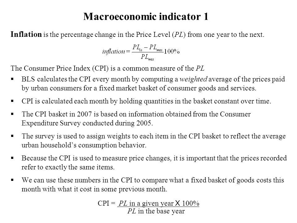Other price indices 1.The GDP deflator is an average of prices of all the goods and services included in Gross Domestic Product (GDP is the dollar value of our economys total ouput) GDP deflator = 100% Since the GDP deflator is a measure of the price level its percentage change is a measure of the inflation rate.