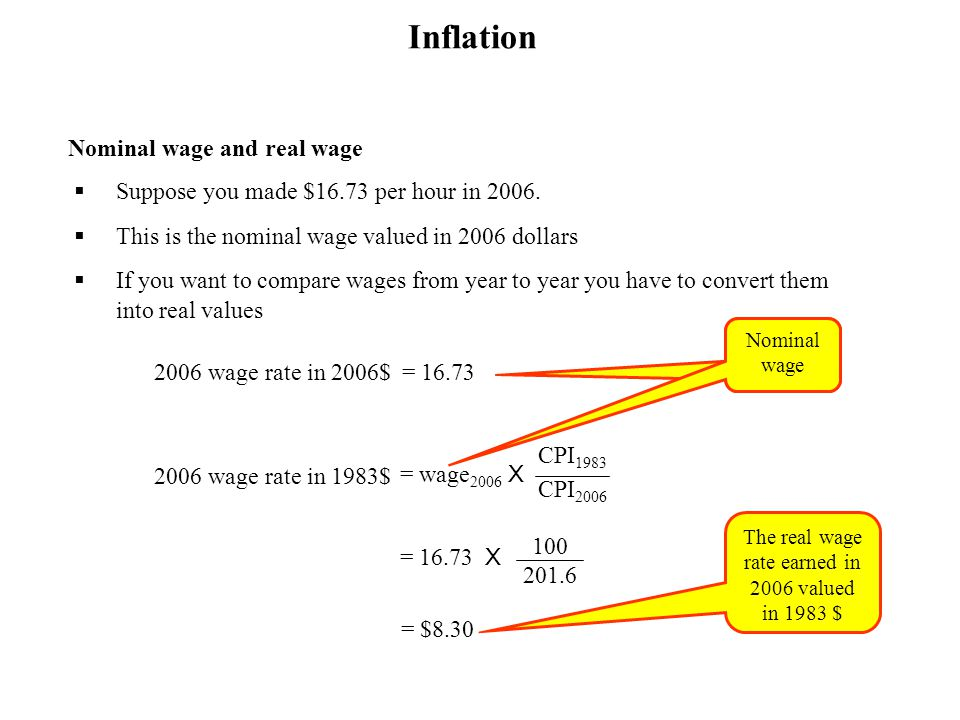 Nominal wage and real wage Suppose you made $16.73 per hour in 2006. This is the nominal wage valued in 2006 dollars If you want to compare wages from