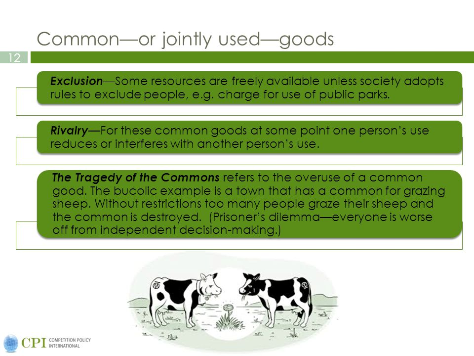 12 Commonor jointly usedgoods ExclusionSome resources are freely available unless society adopts rules to exclude people, e.g.