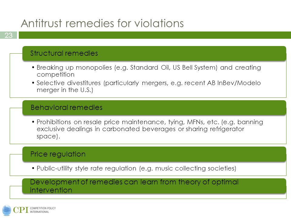 23 Antitrust remedies for violations Breaking up monopolies (e.g.