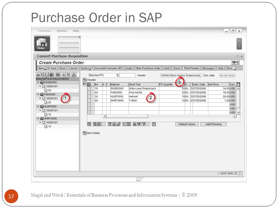 Purchase Order in SAP Magal and Word .