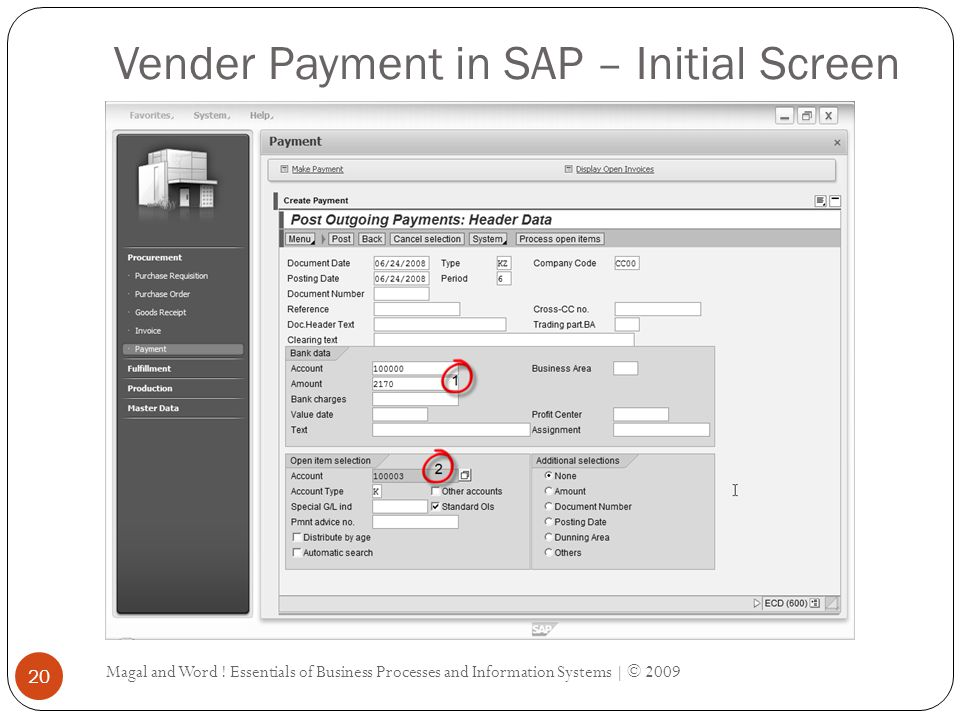 Vender Payment in SAP – Initial Screen Magal and Word .